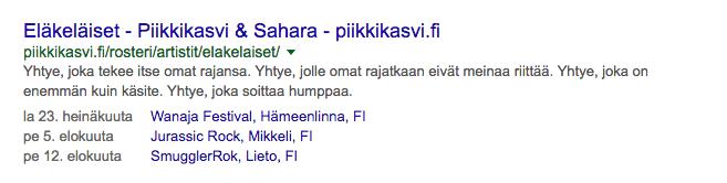 Piikkikasvin keikat Googlessa