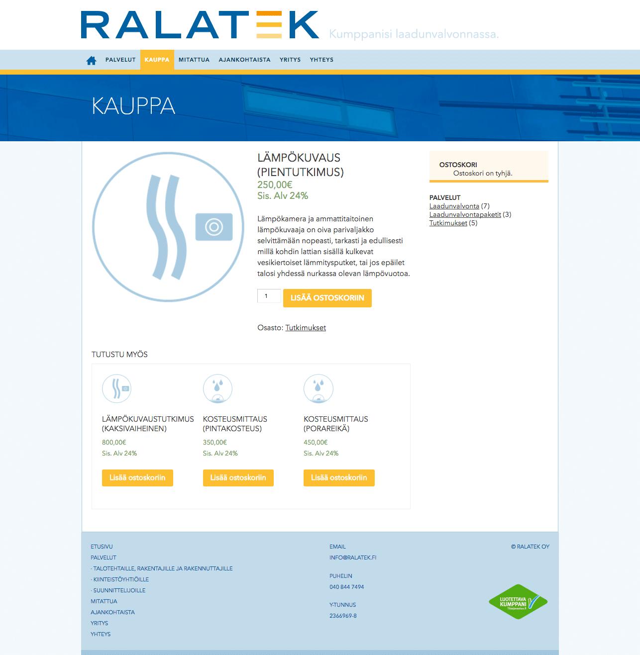 Ralatekille rakentamisen laadunvalvonnan verkkokauppa